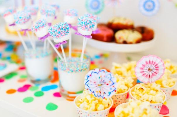 Pajama Party Food Menu with popcorn bar and candy bar table