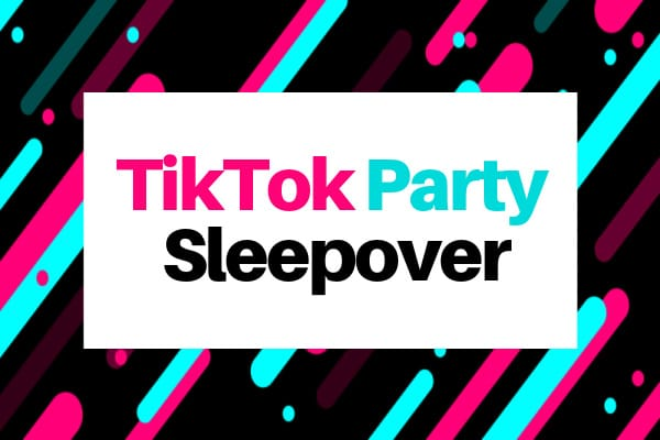 TikTok birthday sleepover ideas sign with tiktok colors of teal hot pink and black