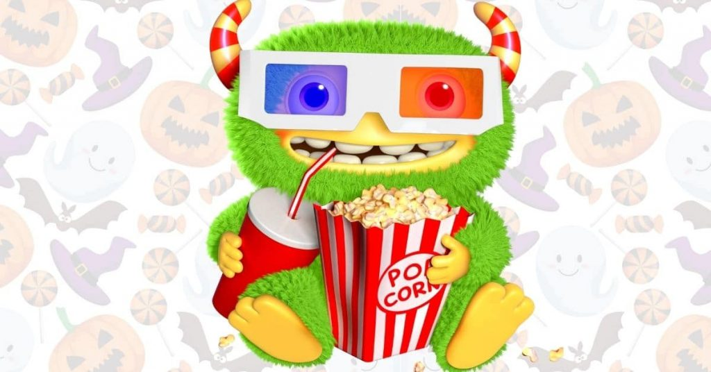 fun halloween movies to watch with green cute cartoon Halloween monster with popcorn and drink on a background of Halloween pumpkins candy and friendly ghosts