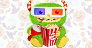 fun halloween movies to watch with cute green Halloween monster with popcorn and drink for movie