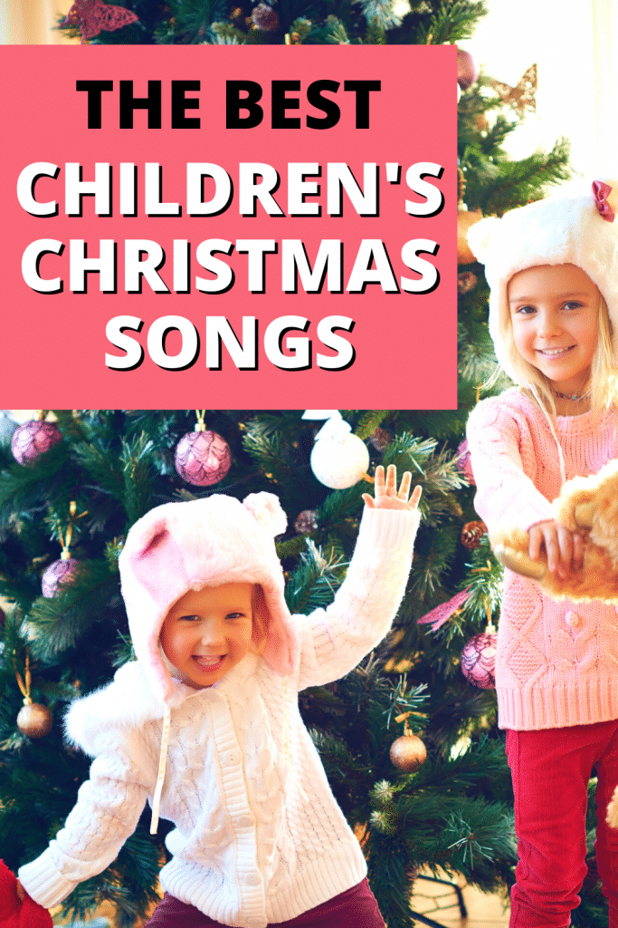 Kids Christmas Party Songs with two girls dancing in front of a Christmas tree to holiday music
