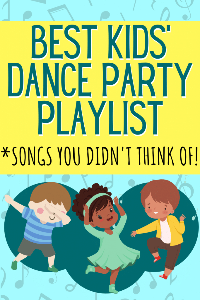 kids party music playlist: Kid-friendly Dance Music with cartoon kids of different colors dancing