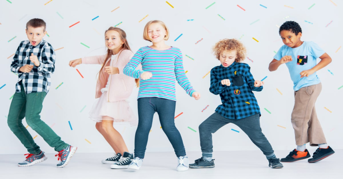 songs for kid party with kids of different genders and colors dancing around